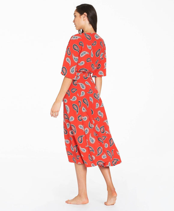 Allegra Wrap Midi Dress - Red