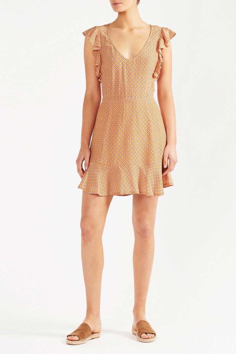 Anna Ditsy Mini Dress - Yellow