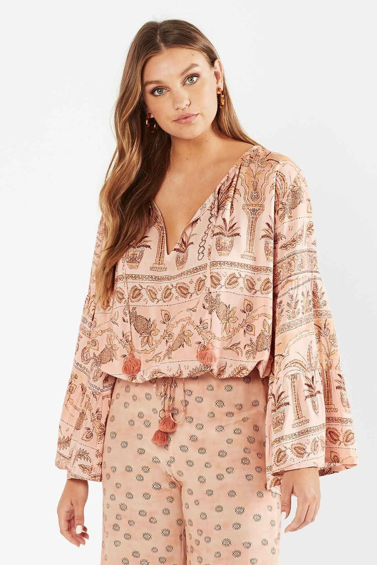 Tigerlily Womens Aziza Long Sleeve Top - Rosewater