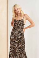 Colca Bias Slip Maxi Dress - Leopard