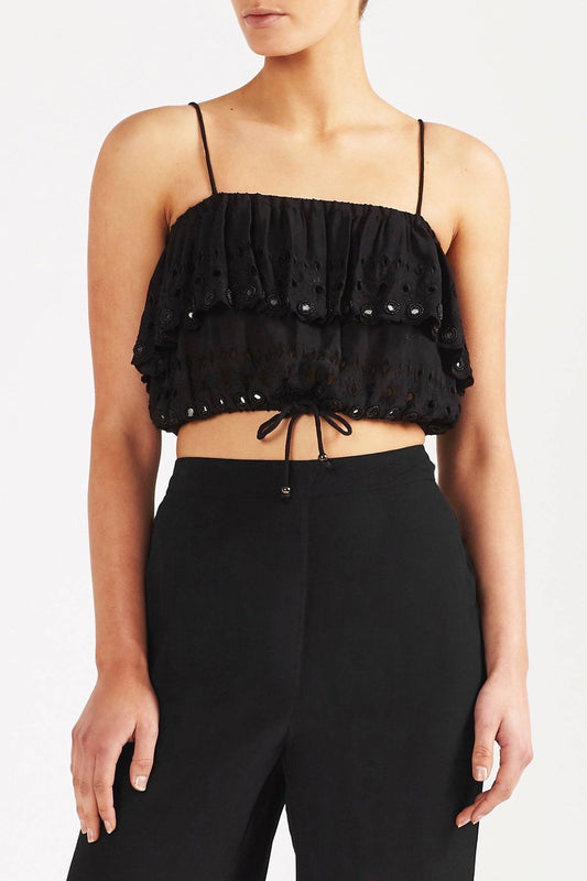 Tigerlily Damara Crop Top - Black