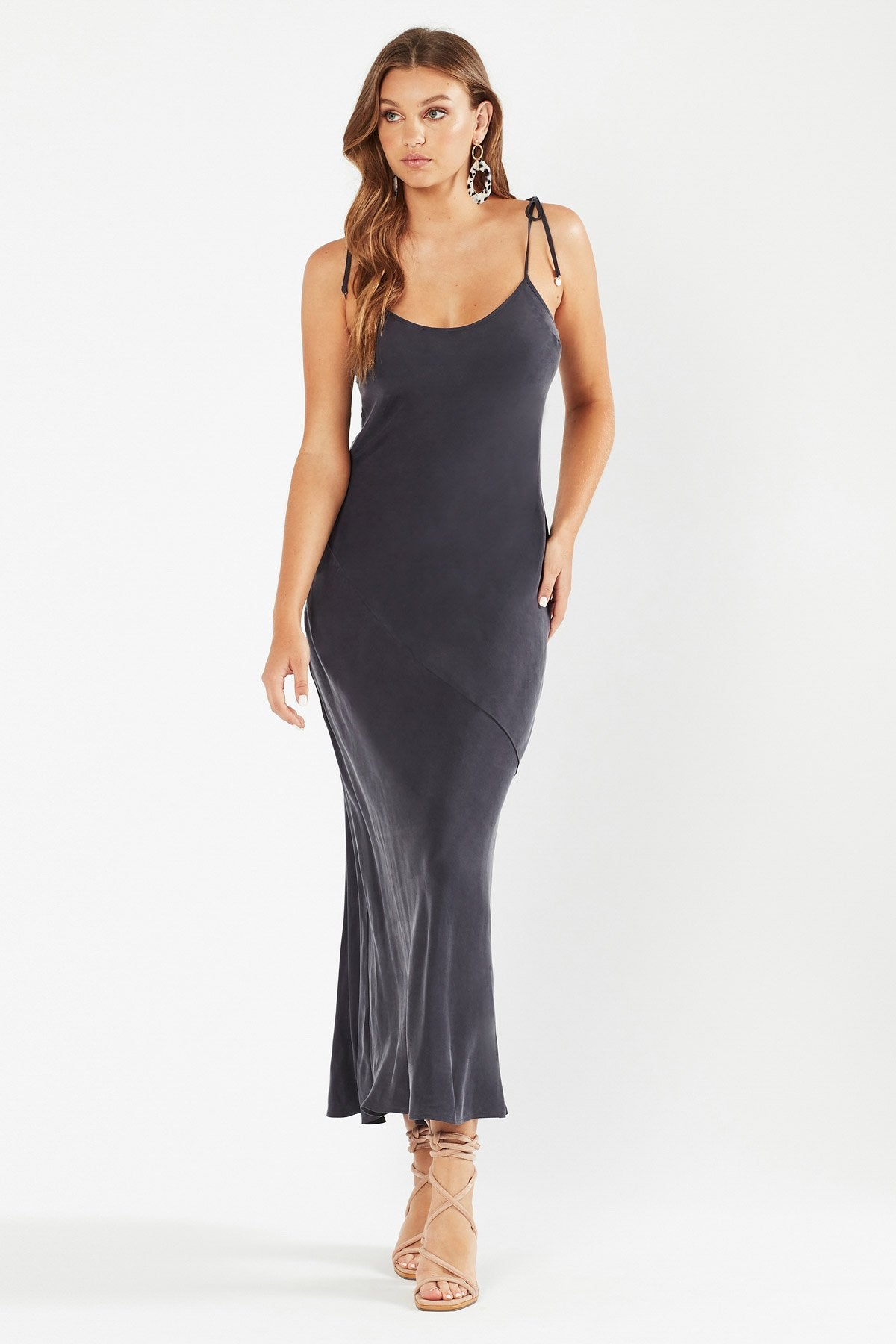 Tigerlily Womens Evelyn Maxi Dress - Charcoal