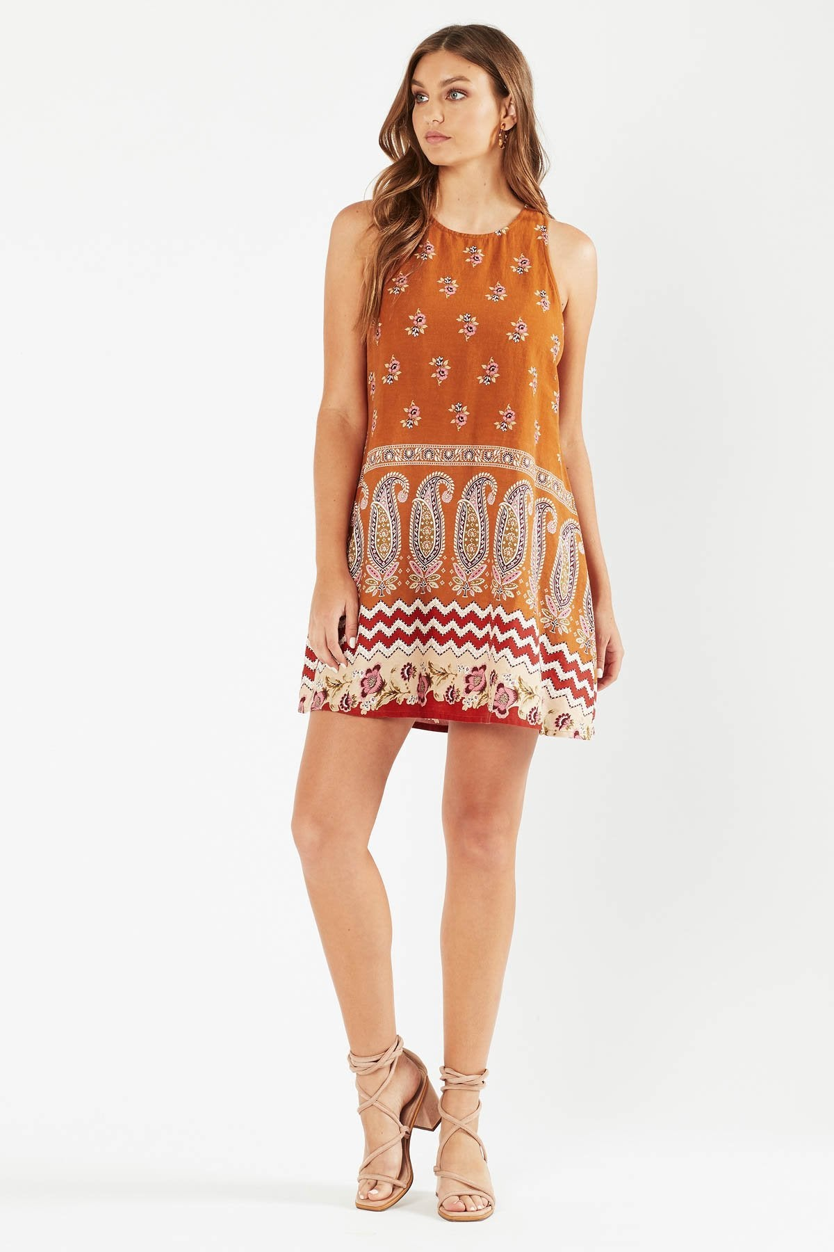 Tigerlily Womens Heloise A-Line Mini Dress - Rust