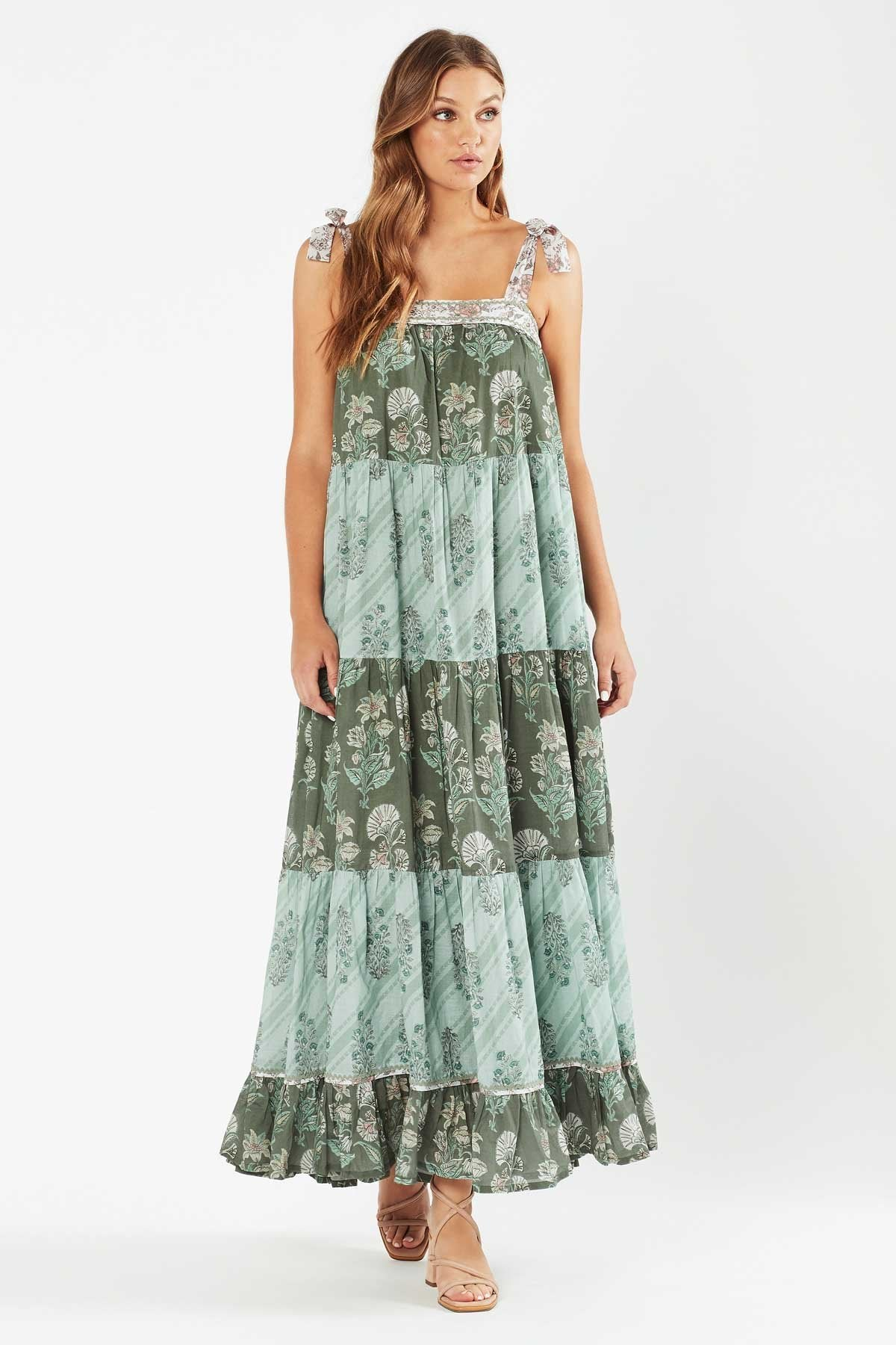 Tigerlily Womens Margaux Tiered Maxi Dress - Patchwork