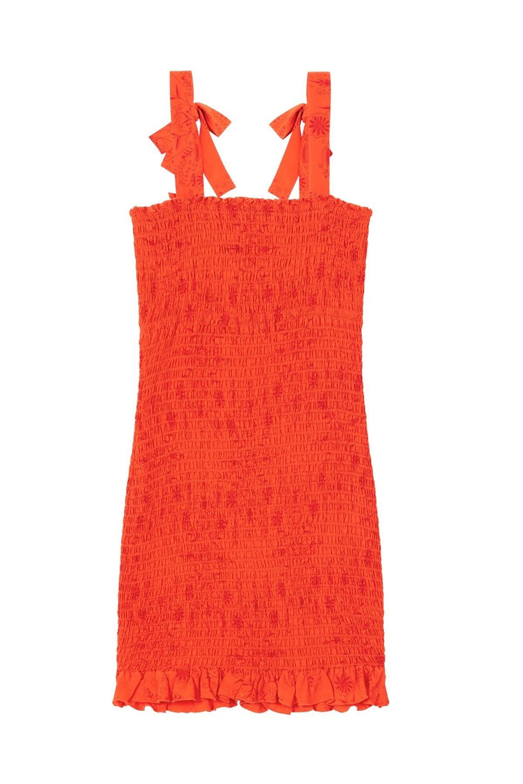 Nikita Shirred Mini Dress - Orange