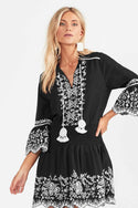 Rubia Embroidered Mini Dress - Charcoal