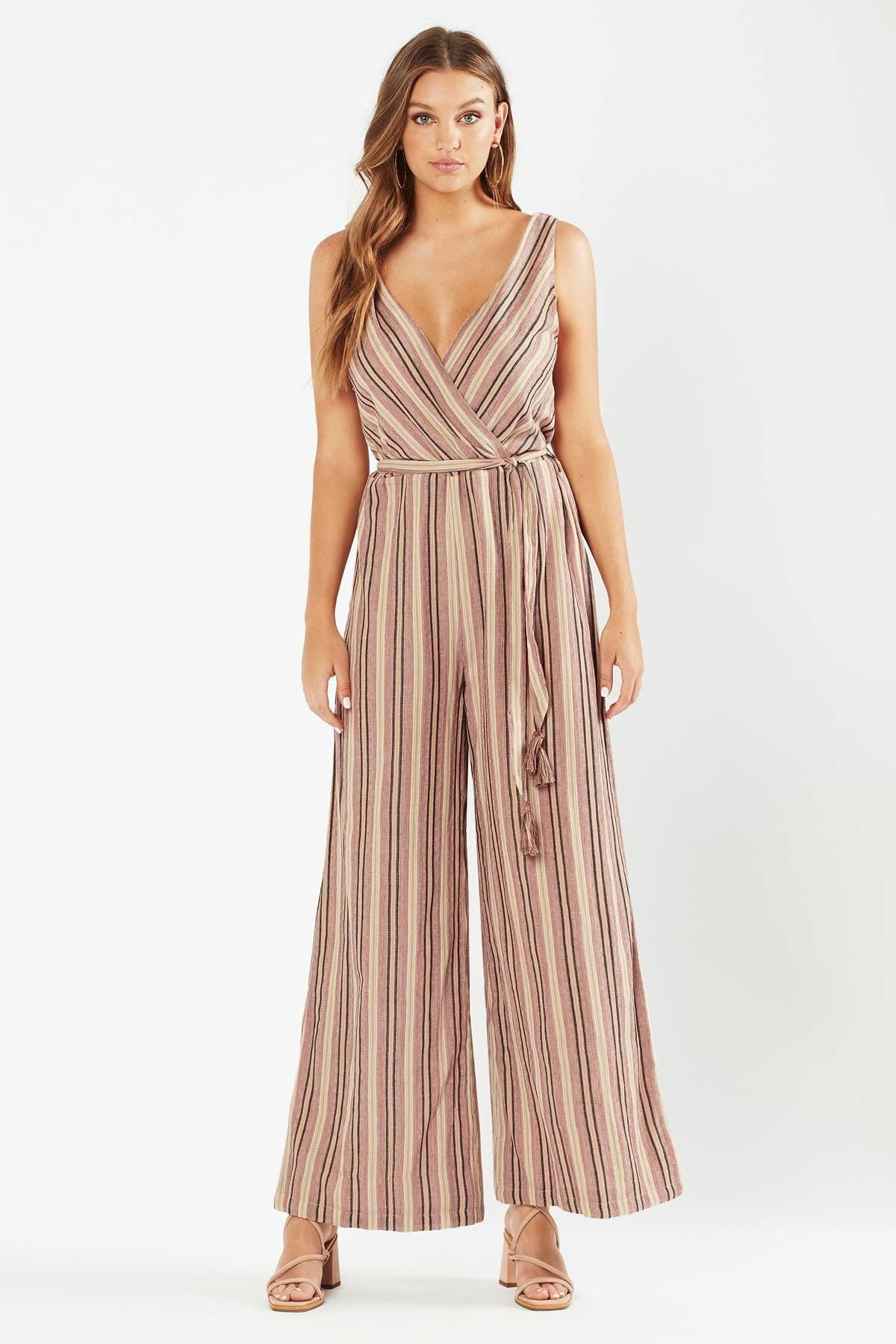Tigerlily Womens Tami Belted Jumpsuit - Stripe