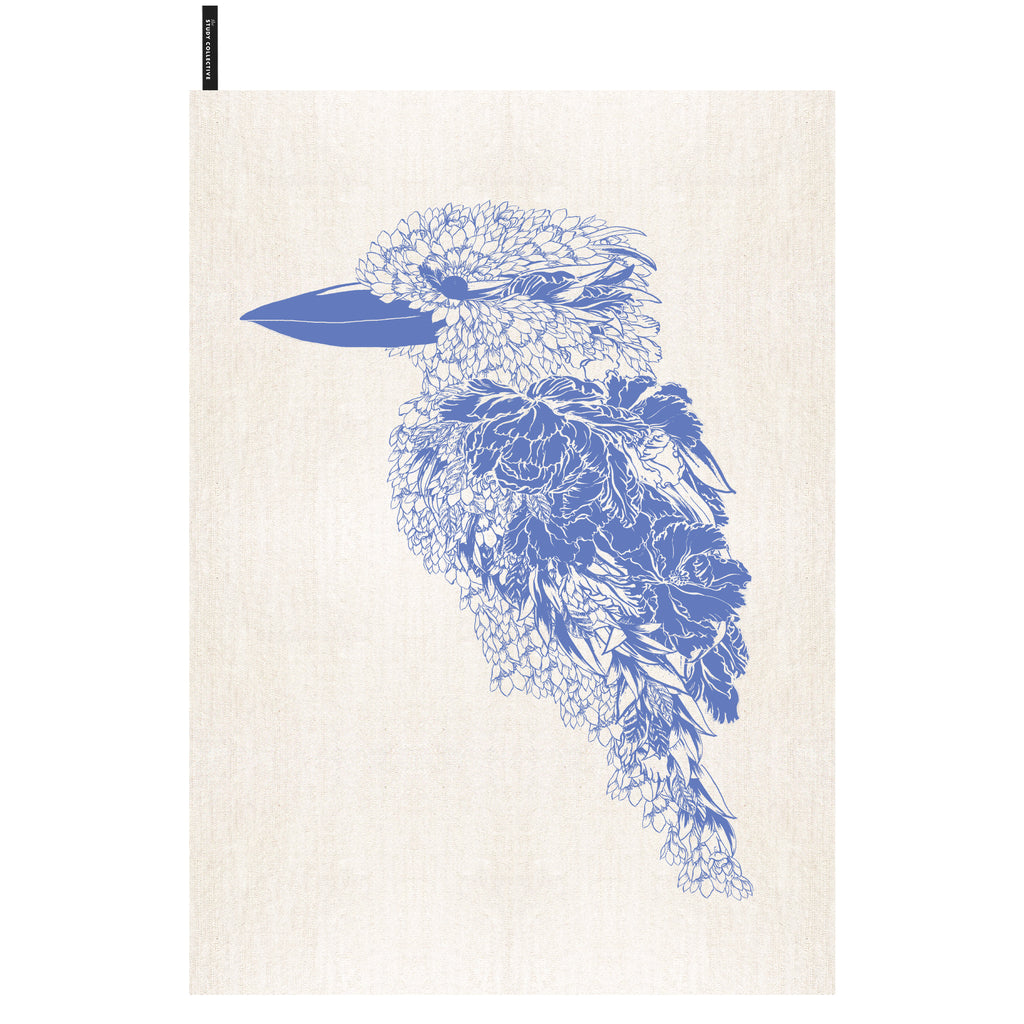 New! Kookaburra Tea Towel Blue
