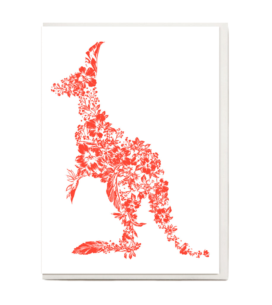 New! Fluro Kangaroo Greeting Card