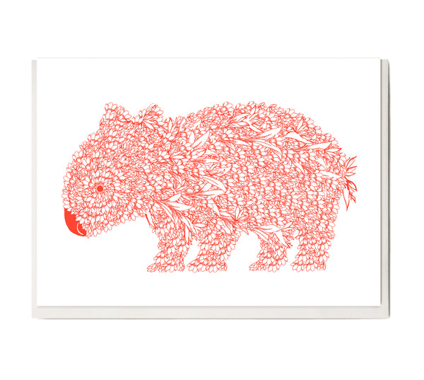 New! Fluro Wombat Greeting Card