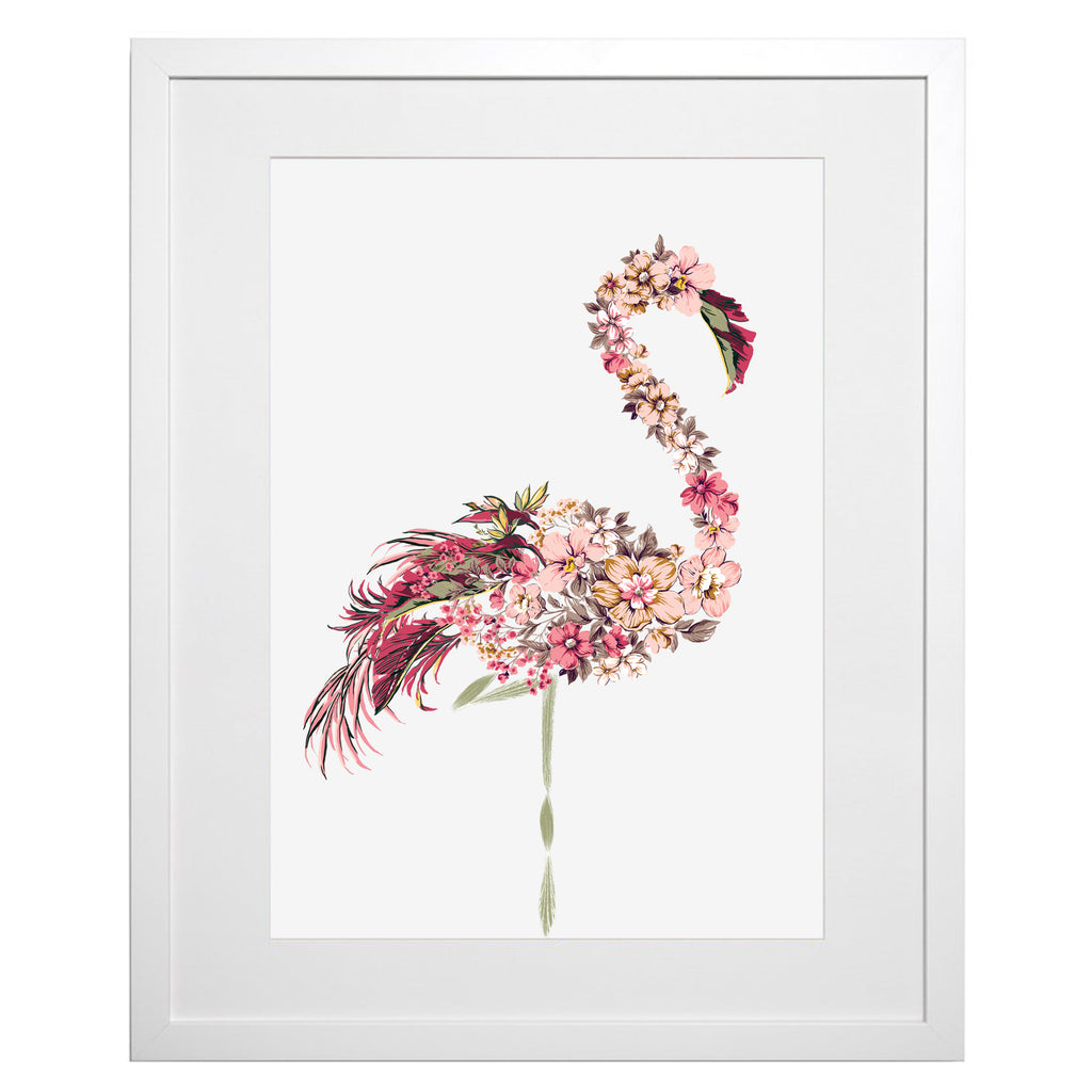 NEW! Floral Flamingo A3 Art Print (unframed)