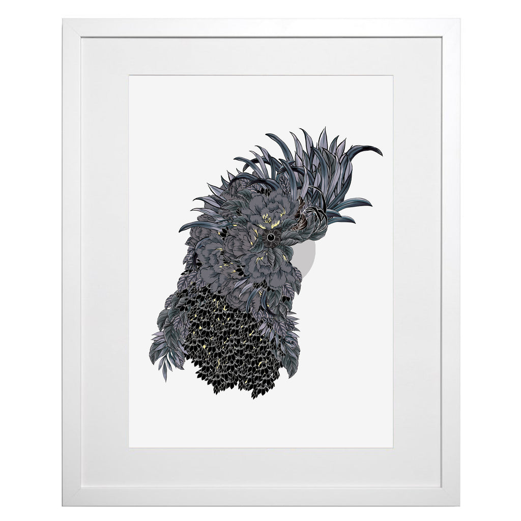 NEW! Floral Black Cockatoo A3 Art Print (unframed)