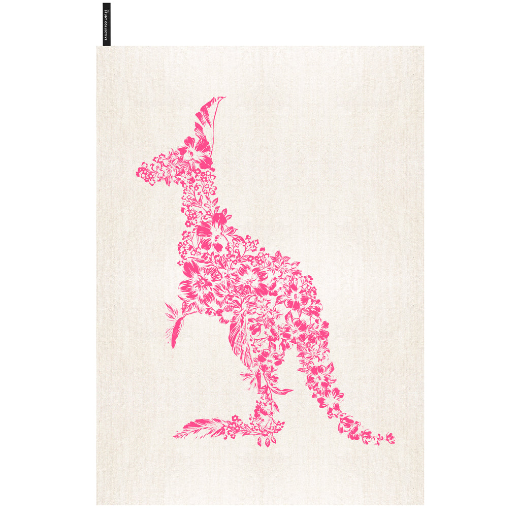 Kangaroo Tea Towel Pink