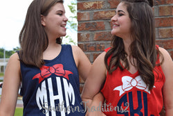 Ladies Patriotic Tank top - 4th of July Tank top - Monogrammed Red White and Blue Tank top
