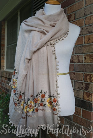 Floral Embroidered Scarf Beige