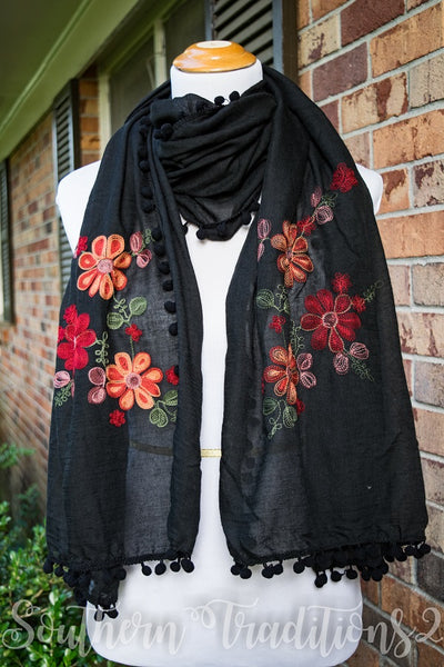 Floral Embroidered Scarf Black
