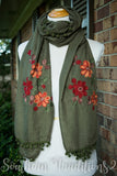 Floral Embroidered Scarf Olive