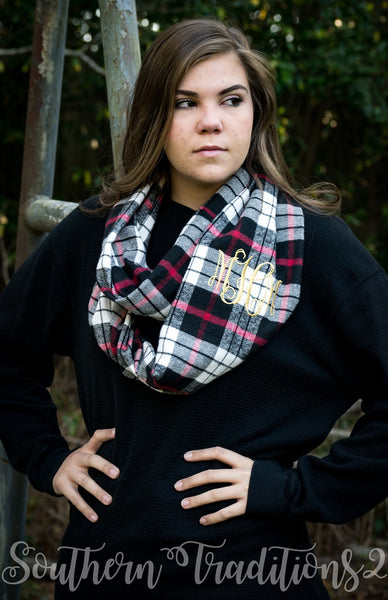 Monogrammed Buffalo Plaid Infinity Scarf - Red White Black