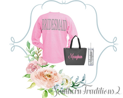 Bridesmaid gift set - Spirit Shirt, Zippered Tote and Skinny Tumbler