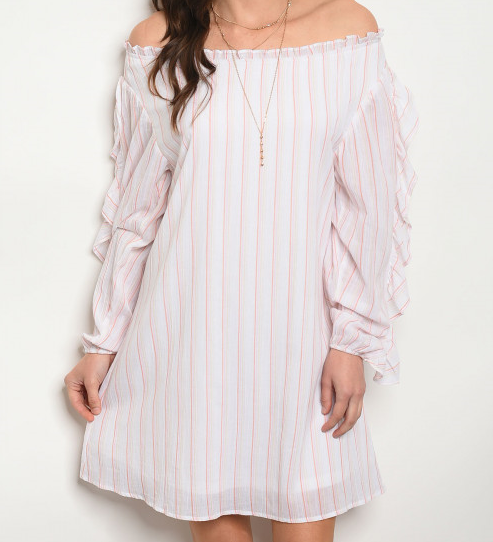 Ladies off the shoulder pink and white striped dress - Boutique Dresses