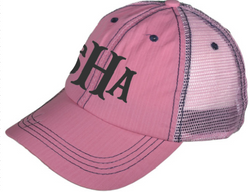 Monogrammed Distressed Trucker Hat - Pink - Breast Cancer Awareness