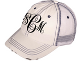Monogrammed Distressed Trucker Hat - White