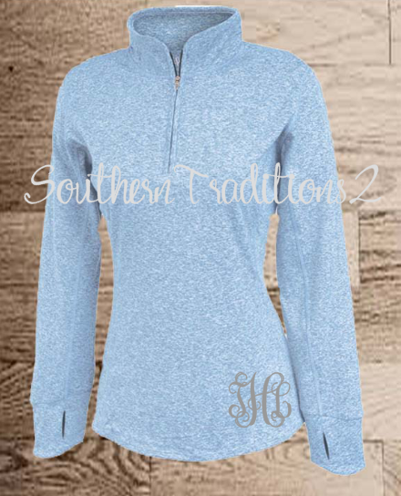 Ladies Monogrammed Quarter Zip Pullover - Space Dyed