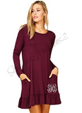 Womens Long Sleeve Ruffle Hem Pocket Dress
