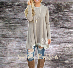 Monogrammed Women's Long Sleeve Lace Tunic - Khaki