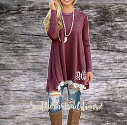 Ladies Long Sleeve Lace Tunic - Monogrammed or Plain - Red
