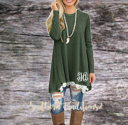 Ladies Monogram Long Sleeve Lace Tunic - Green