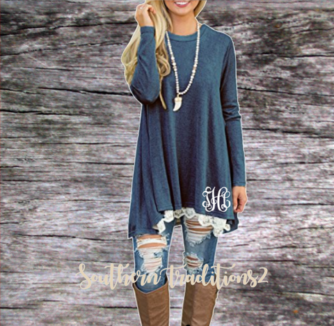 Ladies Monogram Long Sleeve Lace Tunic - Blue