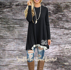 Personalized Ladies Long Sleeve Lace Tunic - Black
