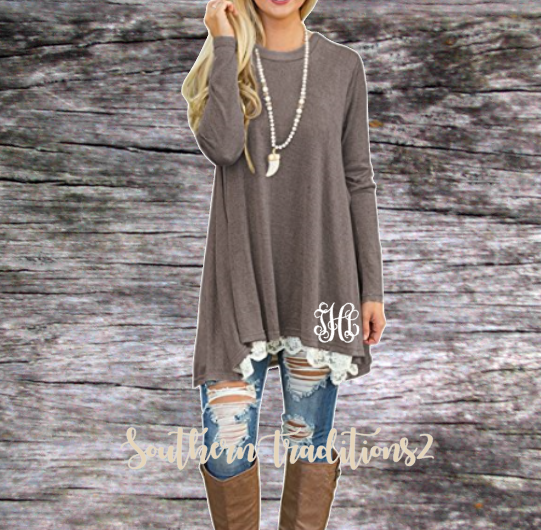 Personalized Ladies Long Sleeve Lace Tunic - Coffee