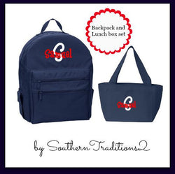 Monogram Backpack and Lunchbox set