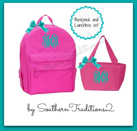 Monogrammed Backpack and Lunch Tote set
