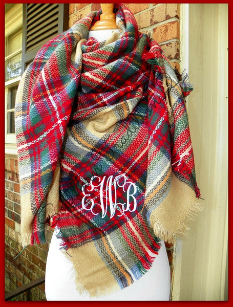 Monogram Plaid Blanket Scarf - Camel plaid