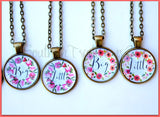 Sorority Big Little GBig GGBig necklaces - Floral Watercolor Wreath