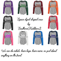 Team Football Jersey's - Long Sleeve Crew Space Dye Tees