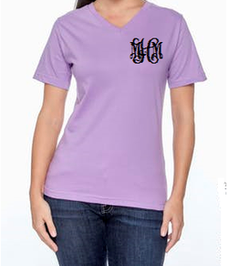 Ladies Monogram V Neck short sleeve t shirt