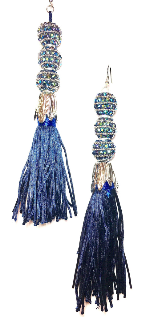 Big Blue Tassel Earrings