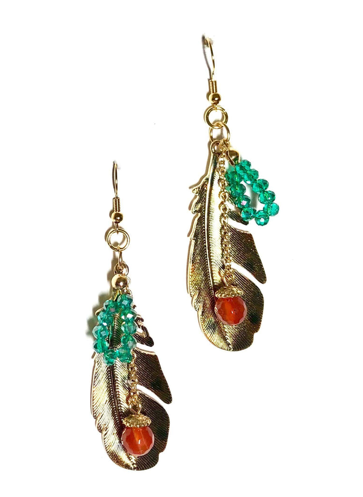 Antique Gold Feather Earrings