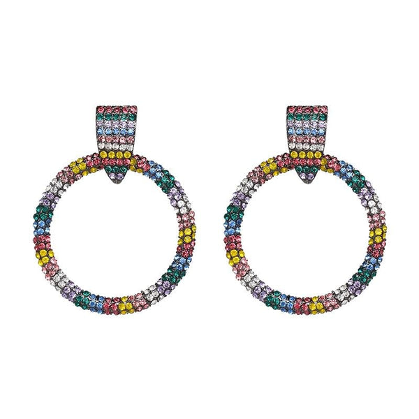 Rainbow Bling Circle Earrings