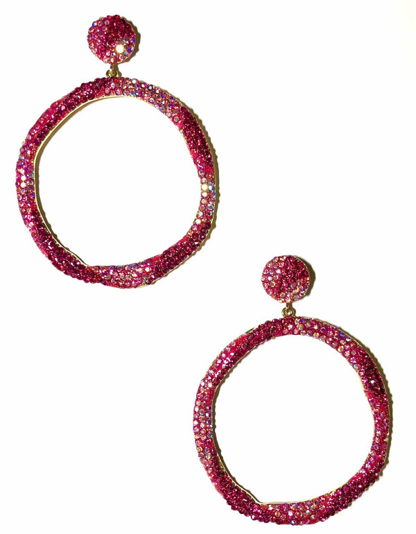 Pink Ice Hoop Earrings