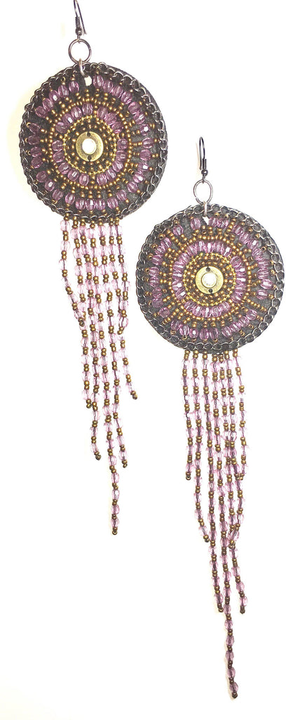 Purple Dreamcatcher Tassel Earrings