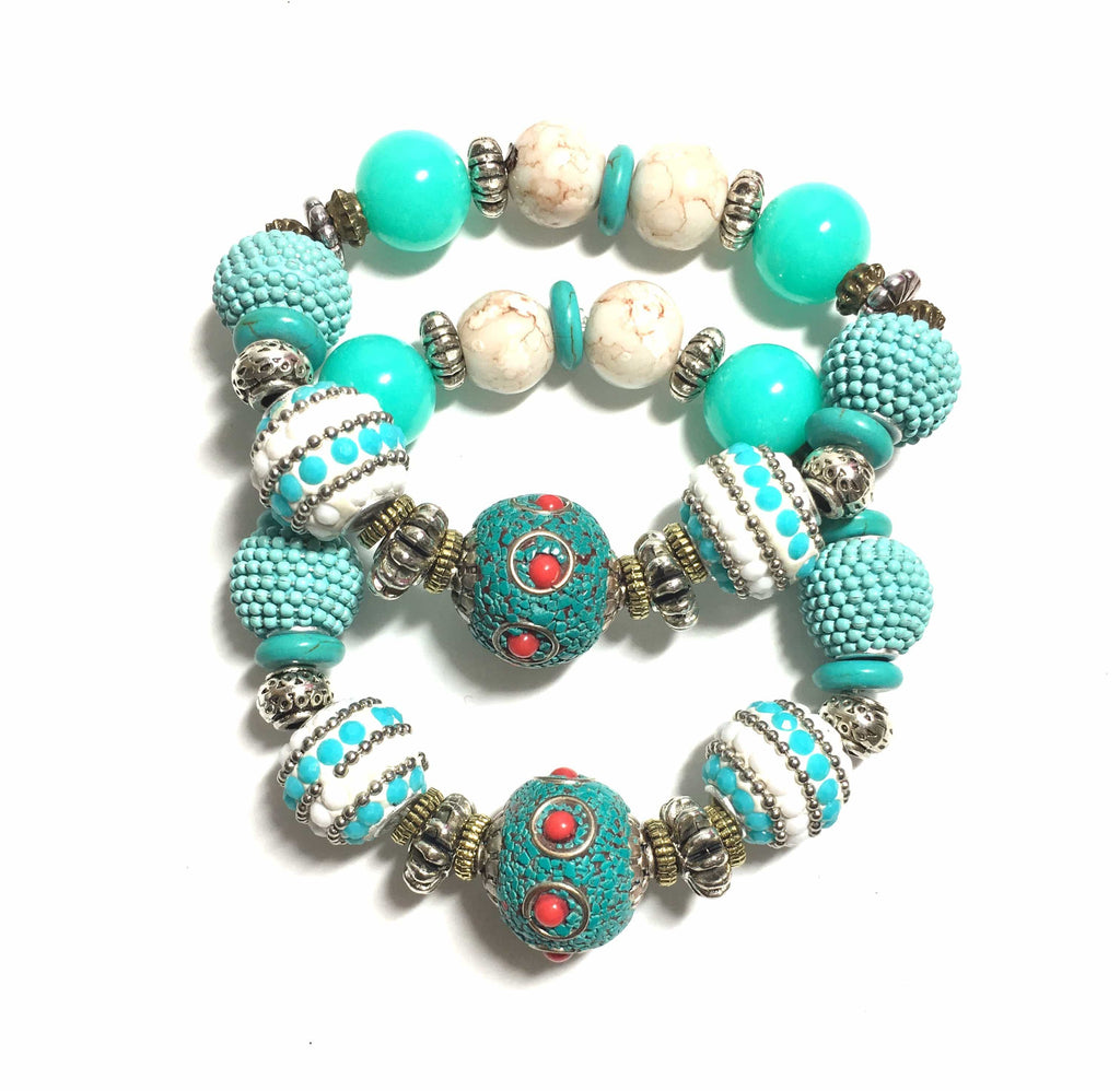 Turquoise and Caicos Stretch Bracelets