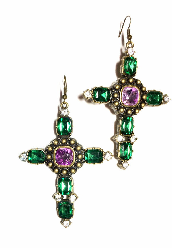 Emerald Cross Earrings