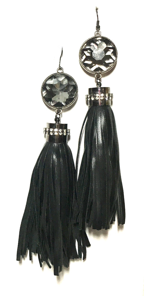 Leather and Ice Tassel Earrings