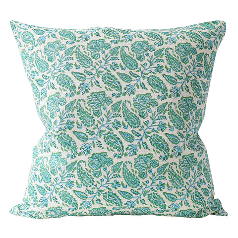 Chintz Emerald linen cushion 50x50cm