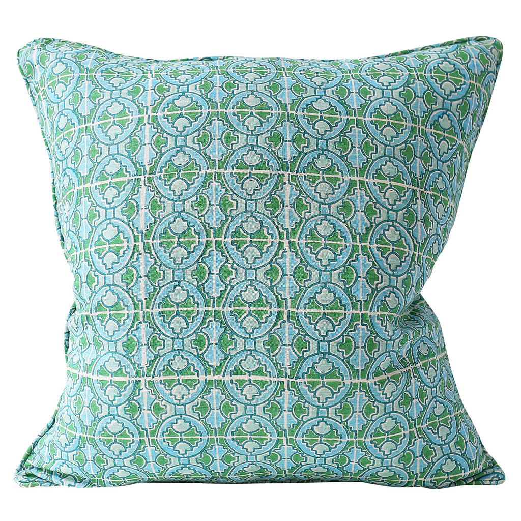 Ravello Emerald linen cushion 55x55cm